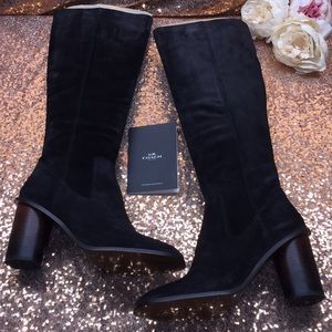 Coach Black Suede Over the Knee Boots